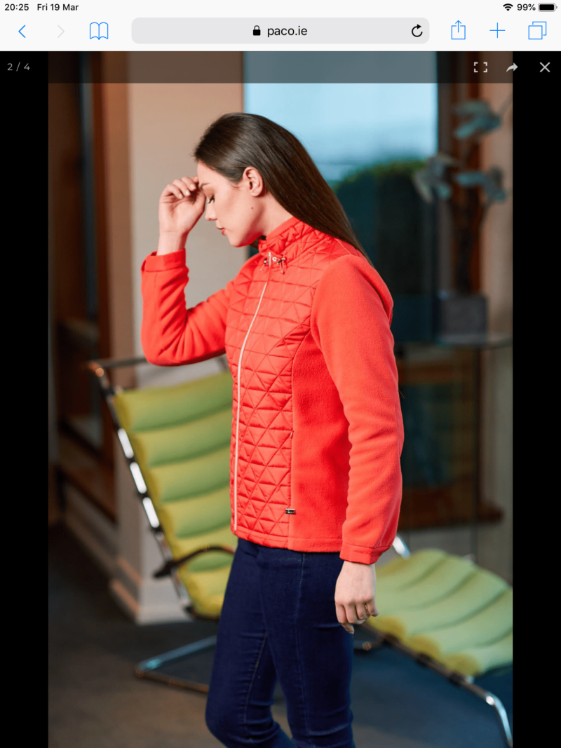 Triangle quilt and fleece jacket coral