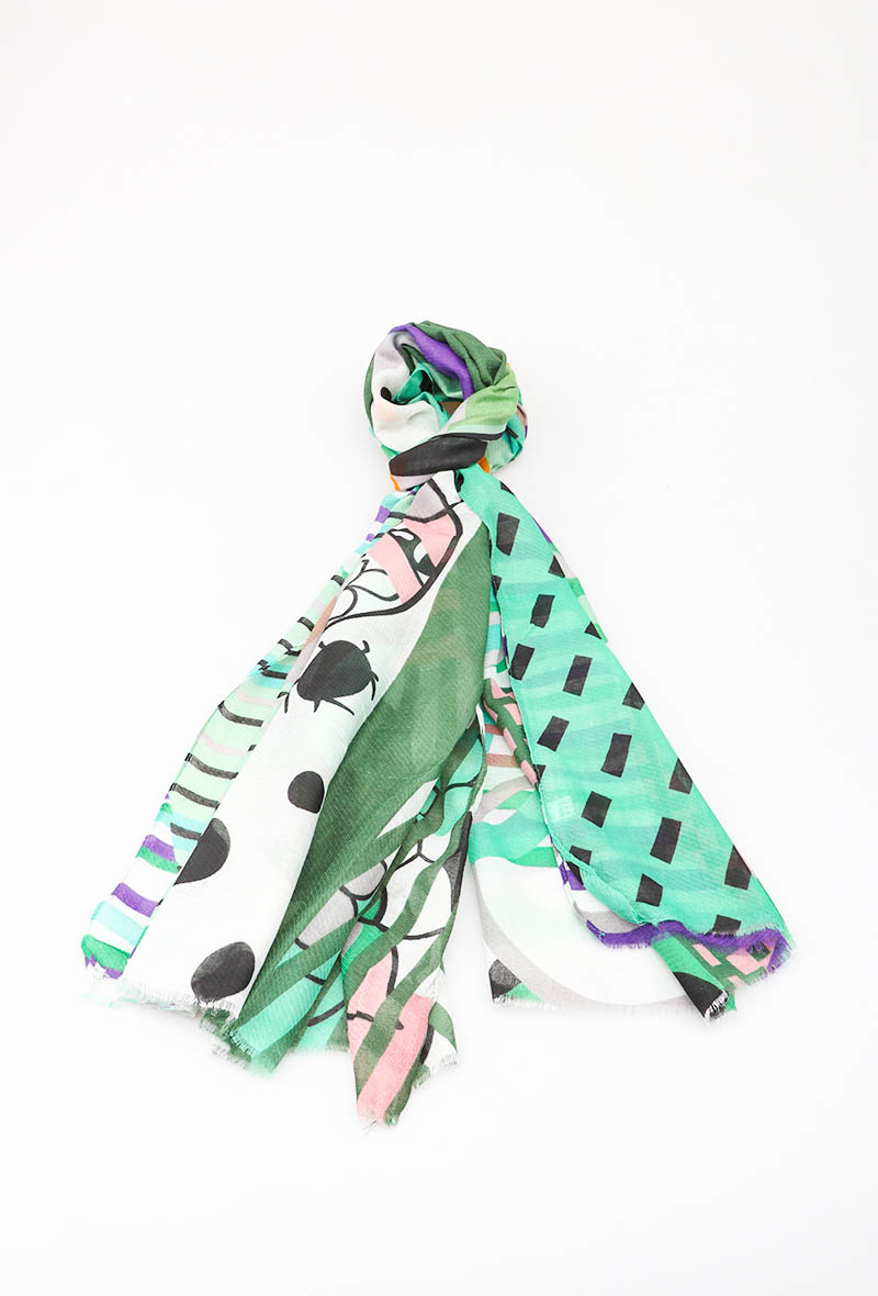 green and purple scarf