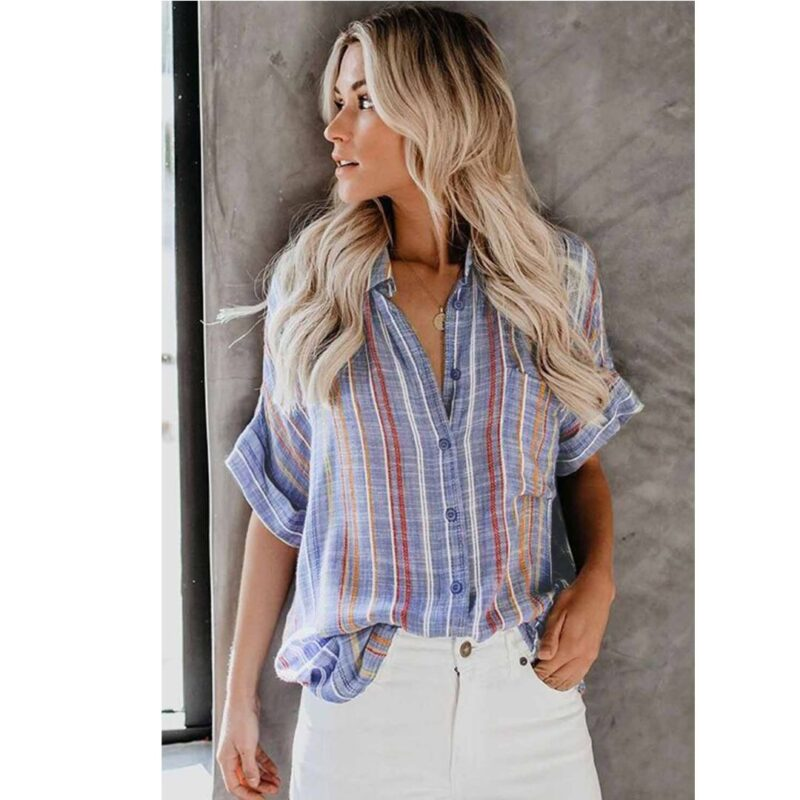 Blue STriped shirt with red stripes