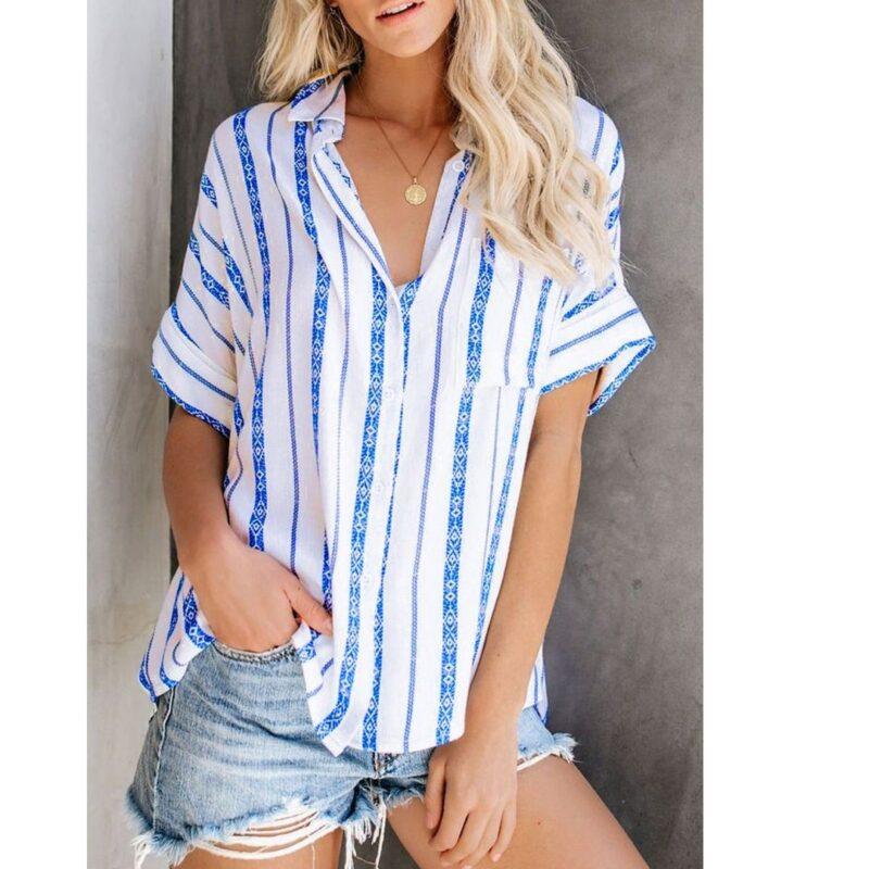 White Shirt Blue Stripe jerros birr