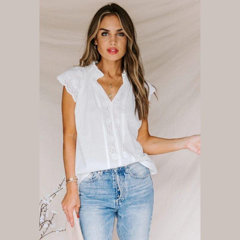 White shirt capped sleeve