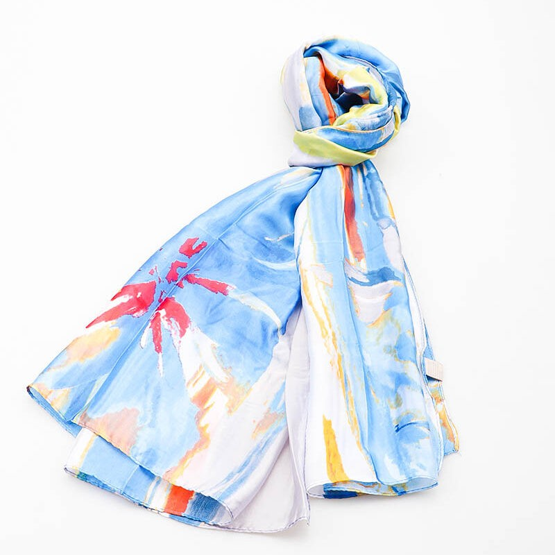 Blue scarf with lemon and red mix