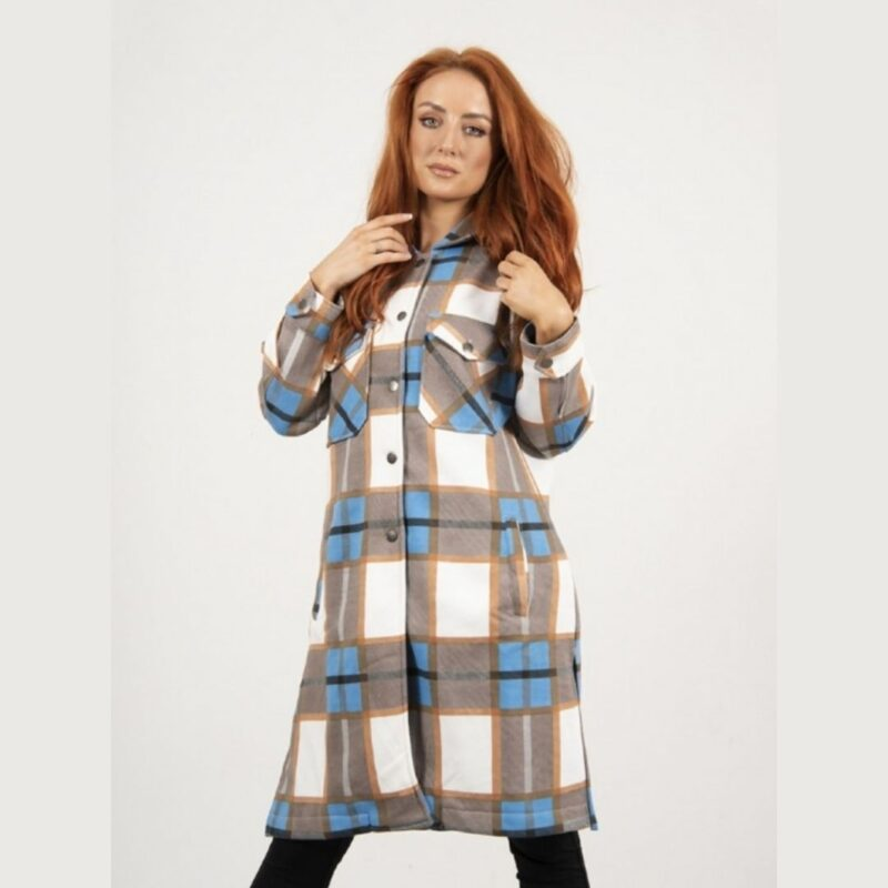 Blue and Stone checked Shacket