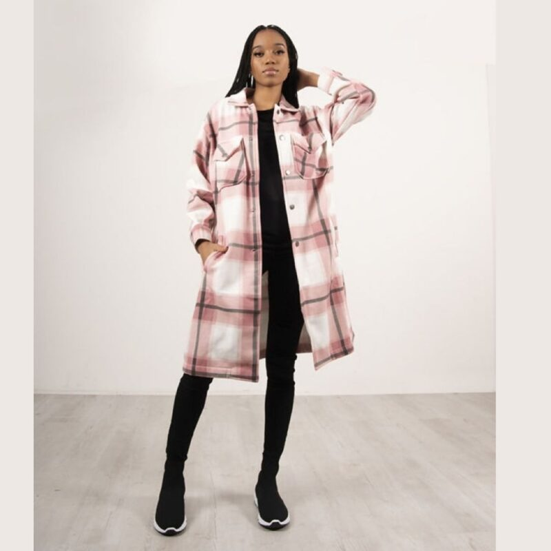 Pink and Stone checked Shacket
