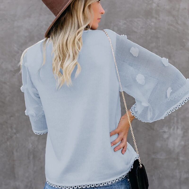 blue blouse with rose sleeves