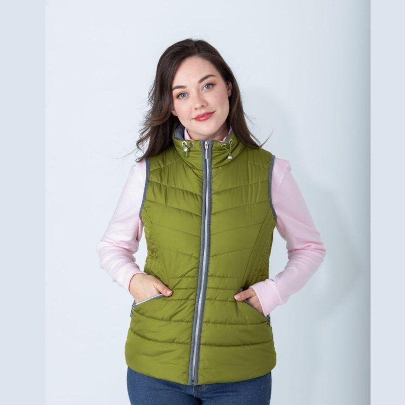 flannel print gilet green
