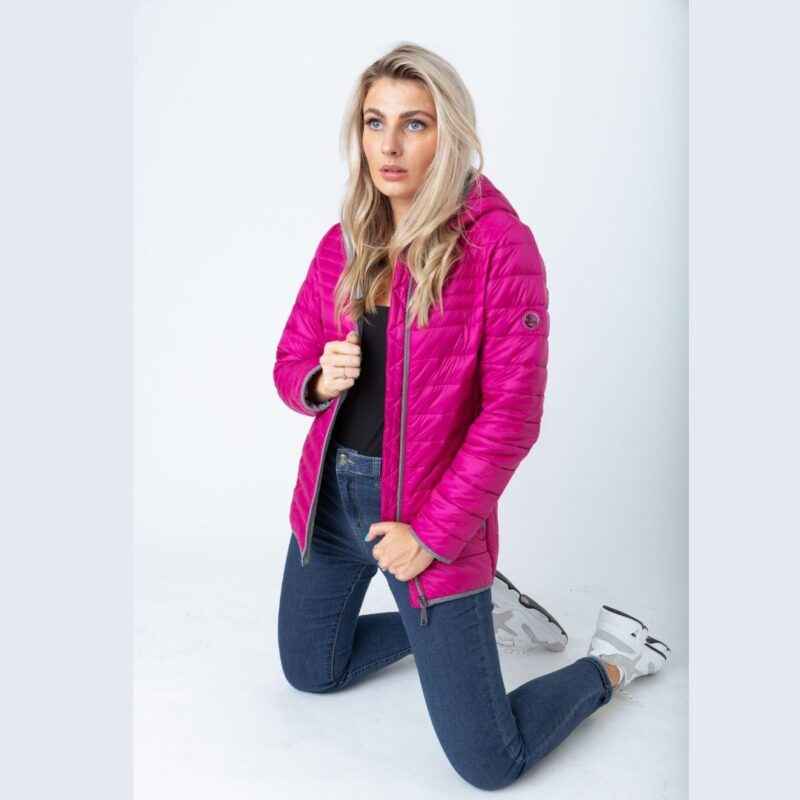 flannel detail jacket pink paco