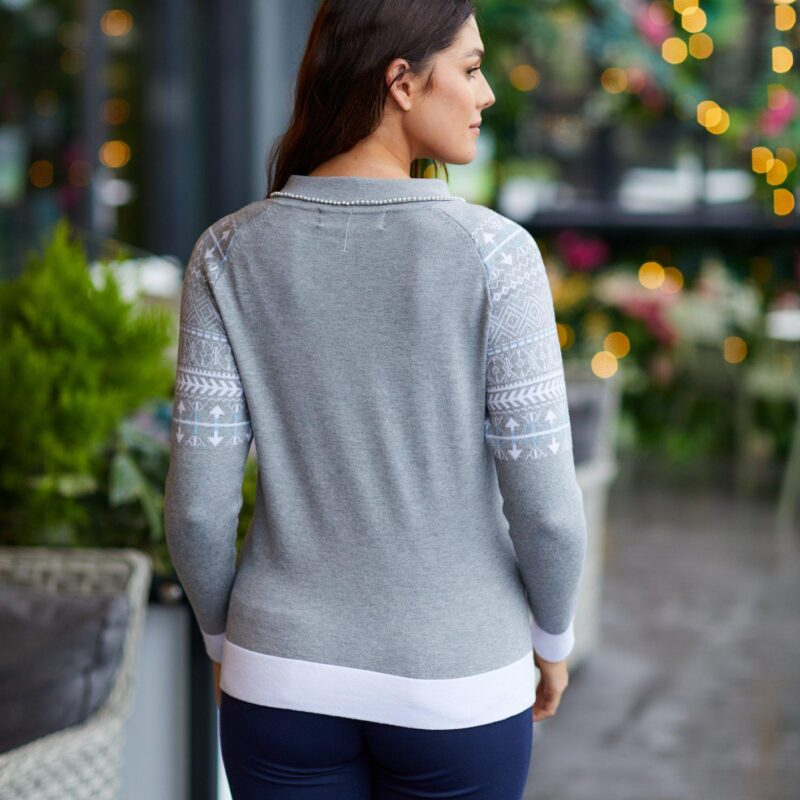 pearl and jaquard sweater