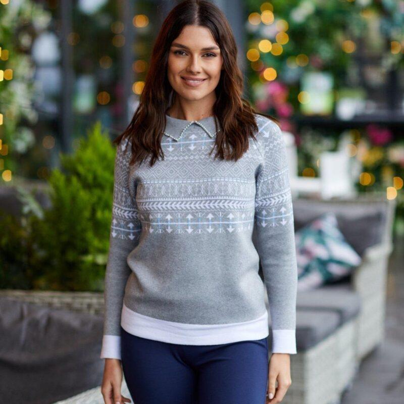 pearl and jaquard print sweater jerros