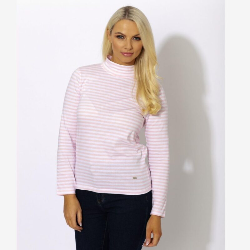 striped turtle neck pink paco